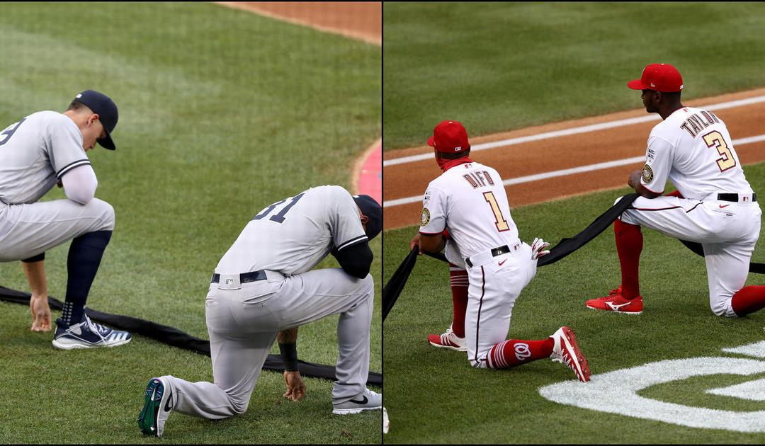 Baseball Rebukes Trump – Yankees & Nationals KNEEL In Unison Before Opening Game
