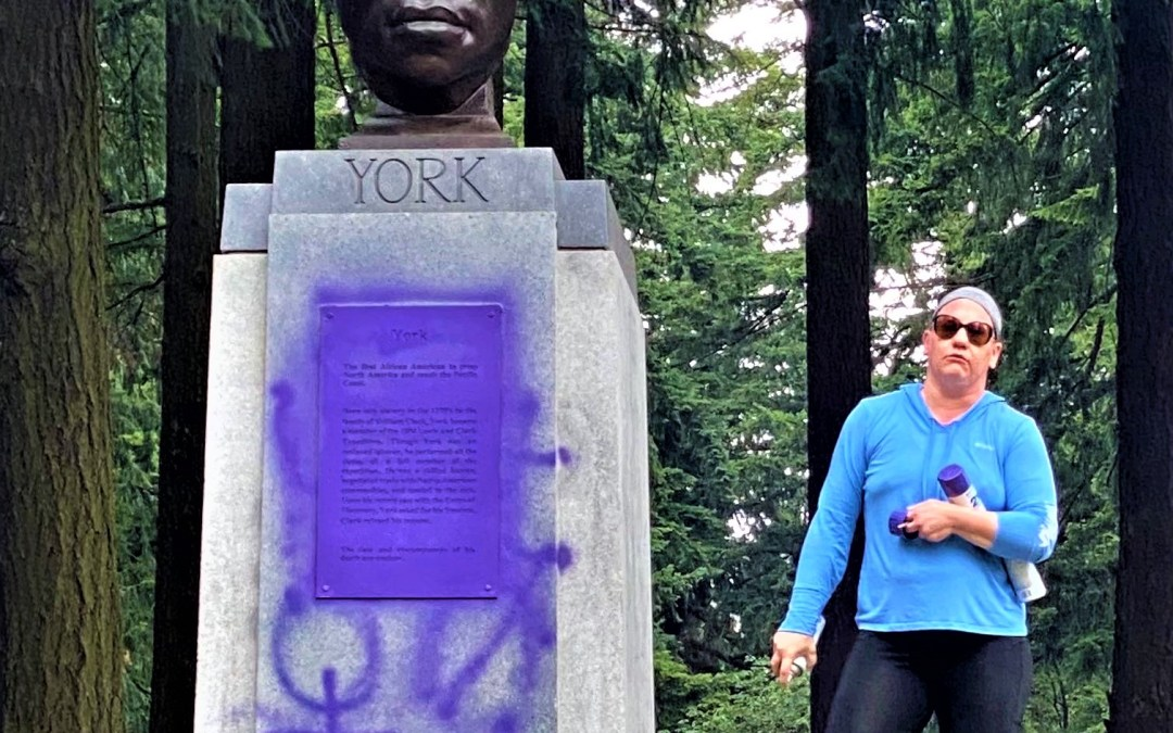 WATCH: White Woman Vandalizes Statue Of Only Black Member Of Lewis & Clark Expedition