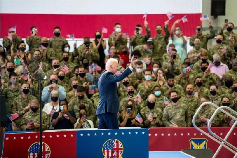 BIDEN IN EUROPE: U.S. Troops Cheer As He Talks Tough On Putin