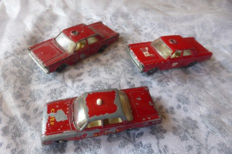 Ford Fairlane Fire Chief (Matchbox) with Ford Galaxie fire Chief Cars (Matchbox)