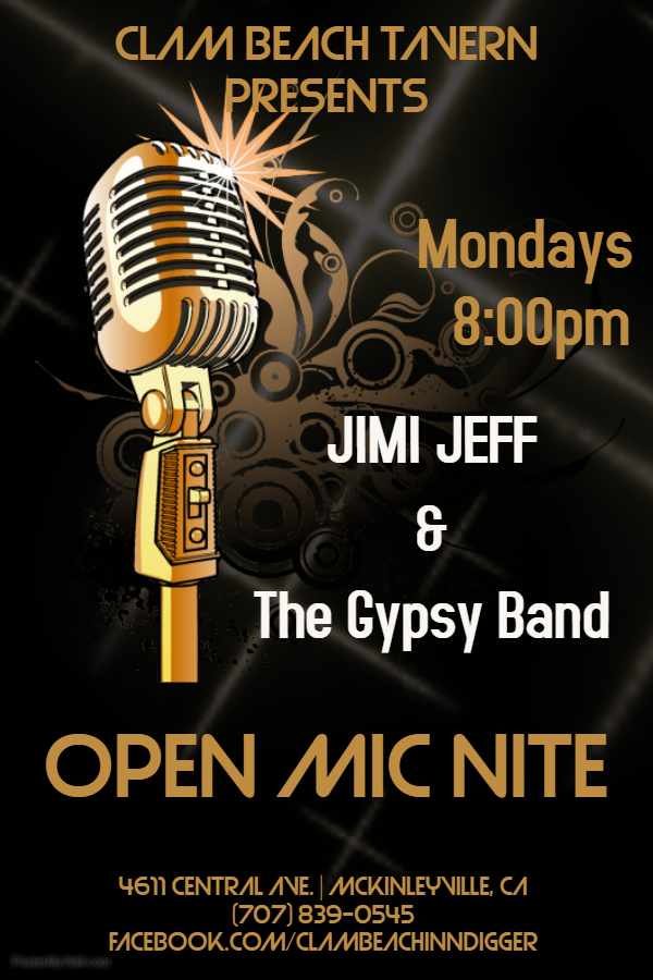 New Monday Open Mic Nites at Clam Beach Tavern with Jimi Jeff & The Gypsy Band