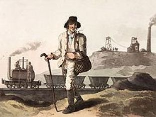 The Collier, aquatint from a painting by George Walker in his The Costume of Yorkshire, engraved by Robert Havell 1814, showing a Matthew Murray steam locomotive (Salamanca) on the M