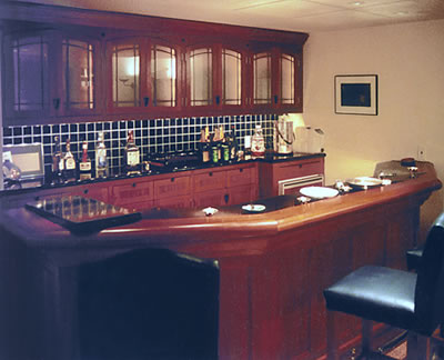 Honduras and African mahogany bar for Rolling Stones'Keith Richards
