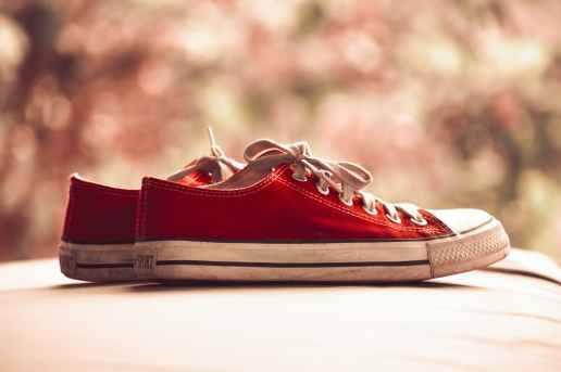 pair of red low top sneakers in bokeh photography