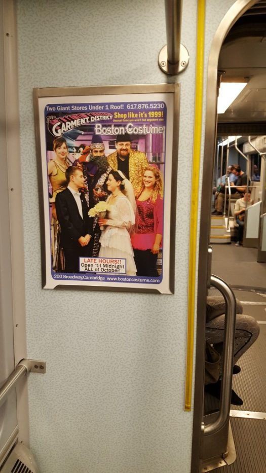 Garment District Halloween ad on The B Line (Green Line), October 2017.