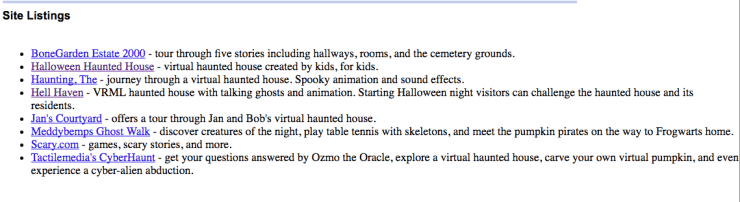Virtual Haunted Houses (October 2002)
