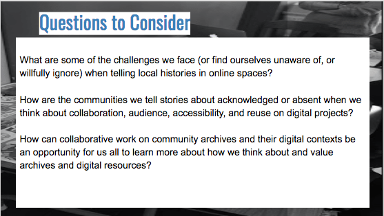 Slide from my talk at Salem State, outlining major questions for consideration.