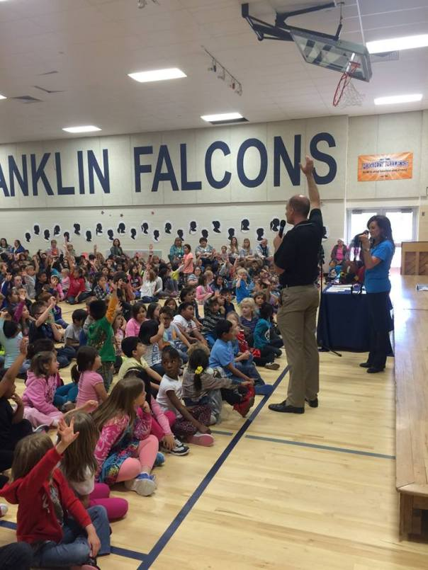 FFF President, Blair Giles, and the head of the PTA, commit young students at the Franklin Elementary School in Provo, to be kind, thoughtful, and never to bully anyone. The school was given Spalding sports equipment from the Foundation and encouraged them to play fairly and respectfully.