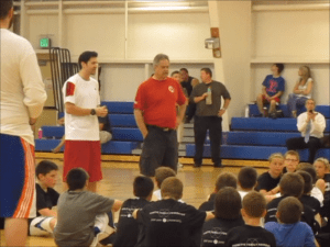first basketball camp/ Tj Fredette teaching kids