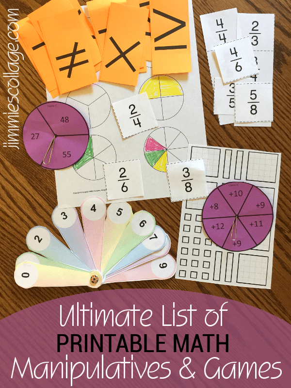 Ultimate List of Printable Math Manipulatives   Games Ultimate List of Printable Math Manipulatives   Games for Homeschool