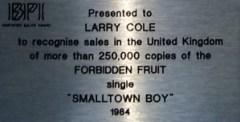 Jimmy Somerville Silver Award Bronski Beat Smalltown Boy