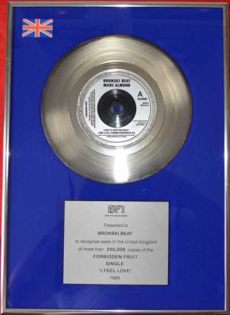 BPI Sales Award Bronski Beat I Feel Love Disk