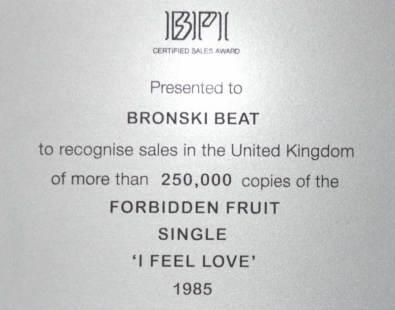 BPI Sales Award Bronski Beat I Feel Love