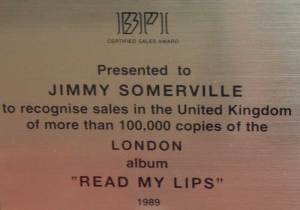 BPI Sales Award Jimmy Somerville Read My Lips