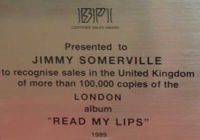 BPI Sales Award Jimmy Somerville Read My Lips