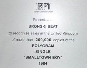 BPI Sales Award Bronski Beat Smalltown Boy