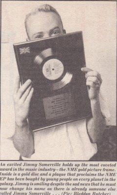 New Music Express Gold Award Jimmy Somerville