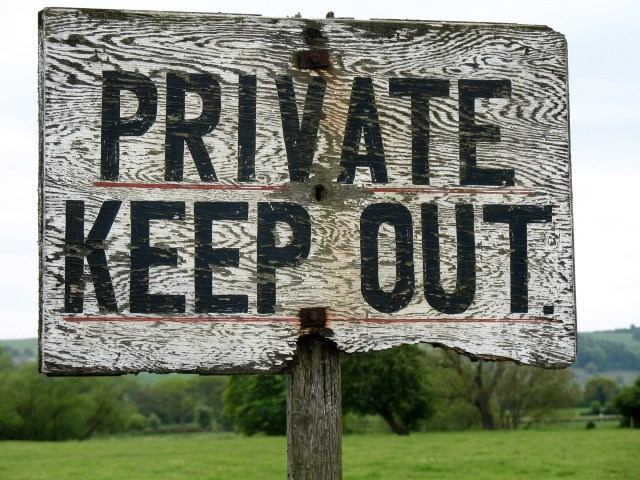 Private Property Sign Reads: Keep Out