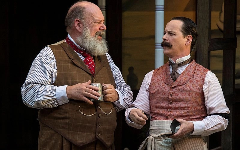 John Ahlin and Jim Poulos in The Merry Wives of Windsor at Utah Shakespeare Festival 2018, Photo by Karl Hugh