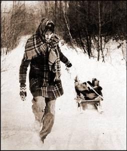 Jane Egbert pulling sled