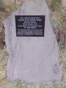 Commemorative plaque at Curdies River trestle bridge