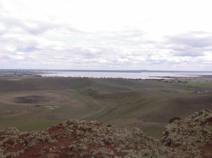Volcanic creater and Lake Corangamite from Red Rock Reserve