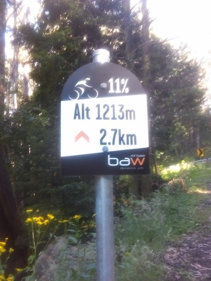 You know it's been a steep ride when you see a sign like this and are thankful the gradient is ONLY 11%!