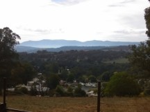 View across Batlow towards Snowy Mountains