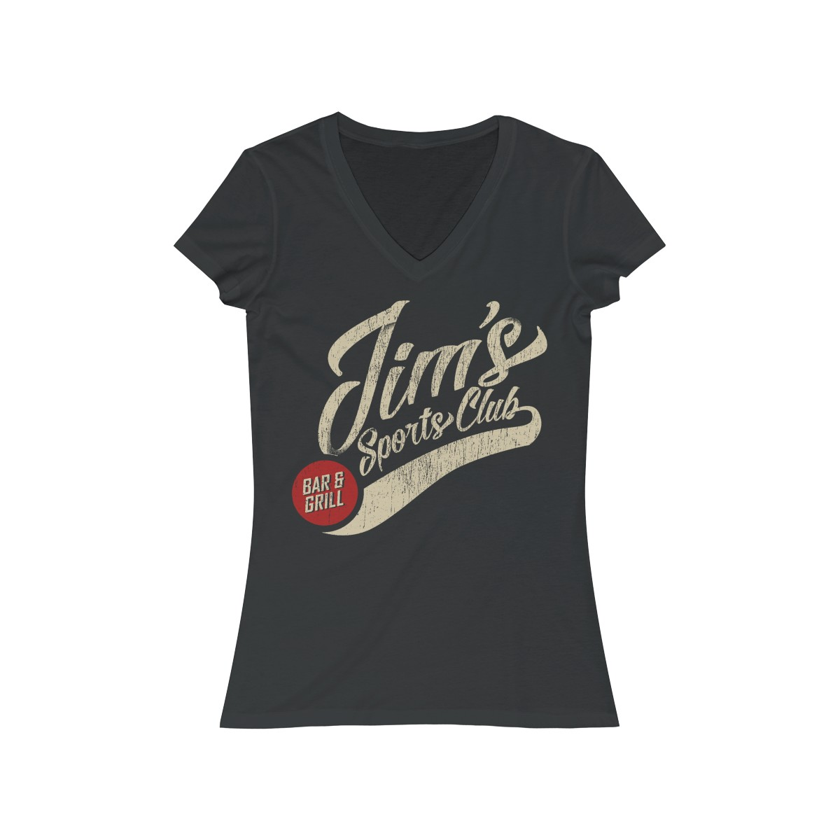 Dark Grey Heather Women's Jersey Short Sleeve V-Neck Tee