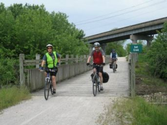 Sandra-Schmid-biking-on-trail-Sierra-Club-KATY-Rail-Trail-trip-2008