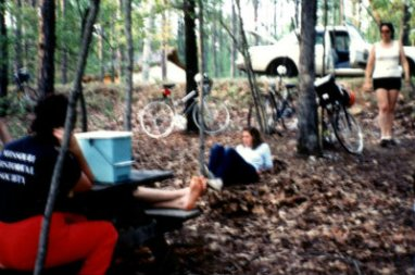 Sandy-Young-at-campsite-USC-Bicycle-Touring-Class-overnight-bike-trip-to-Billy-Dreher-State-Park-Spring-1984