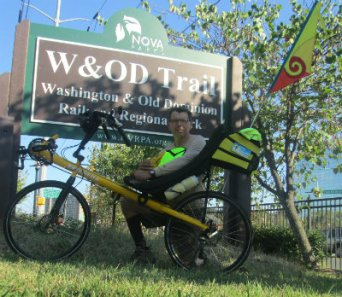 Jim-Schmid-with-Bacchetta-Giro-recumbent-next-to-W&OD-Rail-Trail-sign-VA-2015-10-6&7
