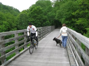 Sandra-Schmid-and-Willow-walking-on-VA-Creeper-Trail-VA-05-16-2011