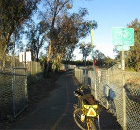 Jim-Schmid's-Bacchetta-Giro-recumbent-at-start-of-Inland-Rail-Trail-Escondido-CA-4-16-2016
