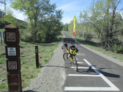 Jim-Schmid's-Bacchetta-Giro-recumbent-at-milepost-0-Wood-River-Trail-Ketchum-to-Bellevue-ID-5-5-2016