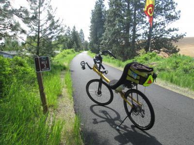 Jim-Schmid's-Bacchetta-Giro-recumbent-Milepost-3-on-Latah-Trail-Moscow-to-Troy-ID-5-9-2016