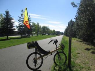 Jim-Schmid's-Bacchetta-Giro-recumbent-at-Milepost-13-on-Centennial-Trail-Coeur-d'alene-ID-5-11-2016
