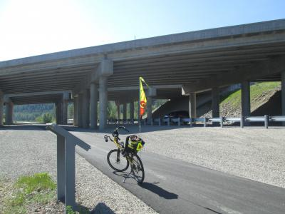Jim-Schmid's-Bacchetta-Giro-recumbent-at-freeway-underpass-Trail-of-the-Coeur-d'Alenes-ID-5-14-2016