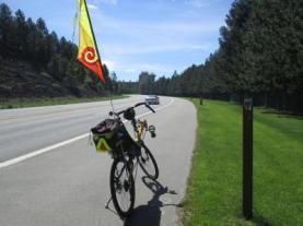 Jim-Schmid's-Bacchetta-Giro-recumbent-at-Milepost-18-on-Centennial-Trail-Coeur-d'alene-ID-5-11-2016