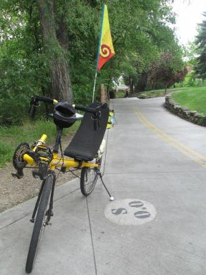 Jim-Schmid's-Bacchetta-Giro-recumbent-at-Milepost-0-on-Boise-River-Greenbelt-ID-5-7-2016