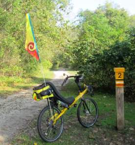 Jim-Schmid's-Bacchetta-Giro-recumbent-at-MP-2-Torrey-C-Brown-Rail-Trail-MD-10-4-2016