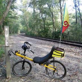 Jim-Schmid's-Bacchetta-Giro-recumbent-at-MP-4-Heritage-Rail-Trail-PA-10-5-2016