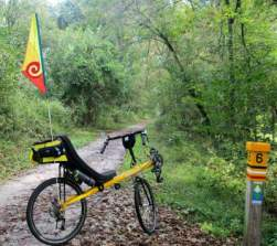 Jim-Schmid's-Bacchetta-Giro-recumbent-at-MP-6-Torrey-C-Brown-Rail-Trail-MD-10-4-2016