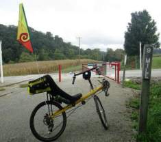 Jim-Schmid's-Bacchetta-Giro-recumbent-at-MP-9-Heritage-Rail-Trail-PA-10-5-2016