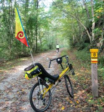 Jim-Schmid's-Bacchetta-Giro-recumbent-at-MP-8-Torrey-C-Brown-Rail-Trail-MD-10-4-2016