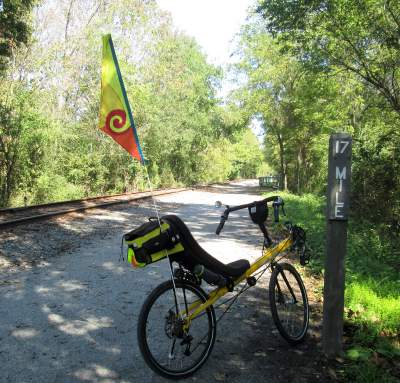 Jim-Schmid's-Bacchetta-Giro-recumbent-at-MP-17-Heritage-Rail-Trail-PA-10-5-2016