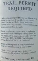 Permit-required-sign-Prairie-Spirit-Trail-Ottawa-to-Iola-KS-6-3-2016