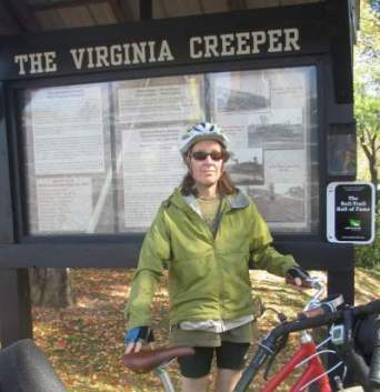 Sandra-Schmid-next-to-Hall-of-Fame-sign-VA-Creeper-Trail-Abingdon-VA-10-28-2016