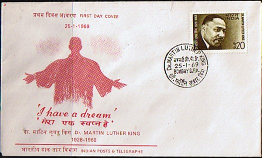 Dr Martin Luther King stamp & envelope, India, 1969 (via Stamps For Sale)
