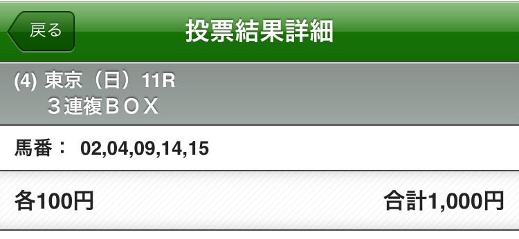 安田記念2018三連複購入馬券